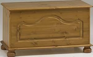Non Branded 10238034 - Baúl de almacenaje de madera de pino con patas redondeadas, 82 x 41 x 45 cm aprox., color marrón