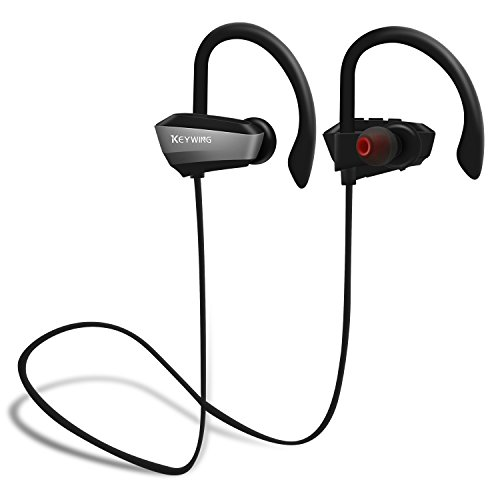 Stereo Wrap Around - Sports Wireless Headphones KEYWING Bluetooth Headphones Sports Earphones with Microphone IPX7 Waterproof HD Stereo Bluetooth Earbuds for Gym Running Workout 8 Hours Battery Noise Cancelling Headsets