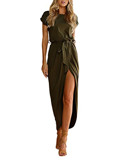 with Green Sleeve High ACHICGIRL Belt Women's Solid Dress Maxi Short Army Slit 8aq7q4x