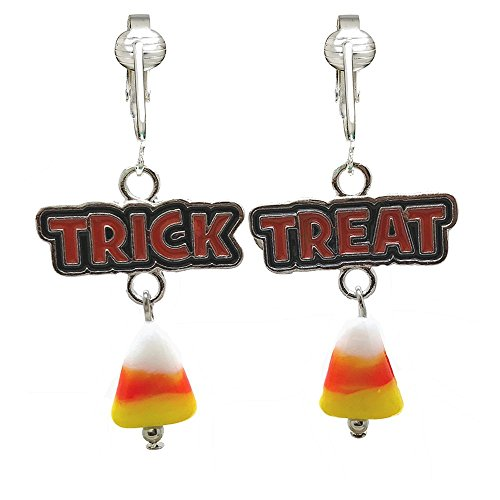 Fun Bright Halloween Clip On Earrings Ladies & Girls-Ghosts, Candy Corn, Bats, Witches, Pumpkins, Skulls (Trick or Treat)