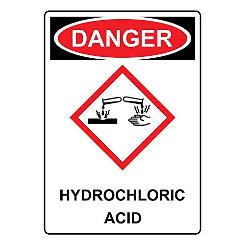 LoMall Garage Decor Sign Danger Hydrochloric Acid OSHA GHS Safety Sign Caution Warning Sign Tin Metal Decor Sign 8x12 ()