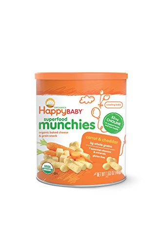 Happy Baby Organic Superfood Munchies Baked Cheese & Grain Snacks, Carrot & Cheddar, 1.63 oz (Pack of 6)