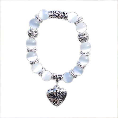KEIRA HENDERSON 10mm Obsidian Tiger Eye Natural Stone Bracelet with Heart Pendant Charms Strand Bracelet DIY Beaded Bracelet for Women Men,White (Silver Bracelet For Baby Boy In India)