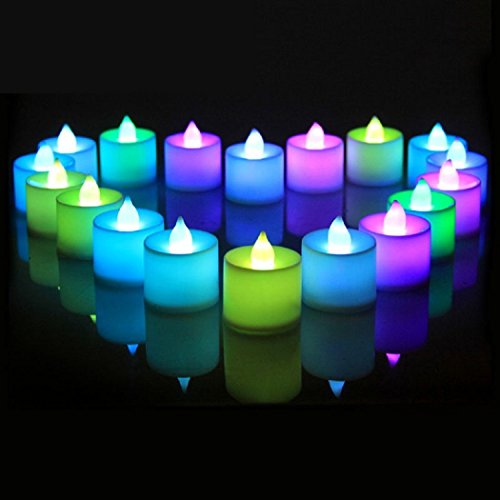 24Pcs Electric Color-changing LED Tealight Bright Mood Candle Realistic Battery Operated Tealight for Wedding Party Confession Festival Decoration Fake Candle (Multi-colored) - Mood Light Candles