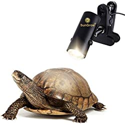 110-volt Heat Light Fixture for Reptiles -- Unique 360° Rotating Lamp Head - Securely Clamps or Hangs in your Turtle, Snake, Lizard, Amphibian Tank - Supports both E26/E27 Socket - Bulb not included
