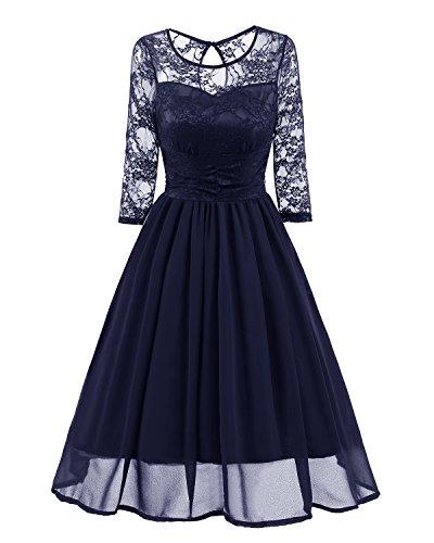 (Women's Elegant Floral Lace Illusion Neckline Wedding Party Formal Dresses Graduation Ceremony Graduation Bridesmaid Ladies clean elegance adult embroidery jacket cardigan See-through skin (L, Indigo))