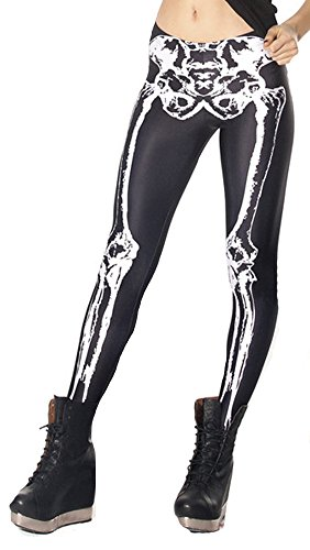 QZUnique Women's Classic Skeleton Printed Pattern Ankle Length Elastic Tights Leggings]()