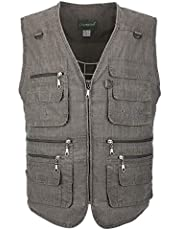 LUSI MADAM Men's Linen Outdoors Lightweight Travel Vests with Pockets