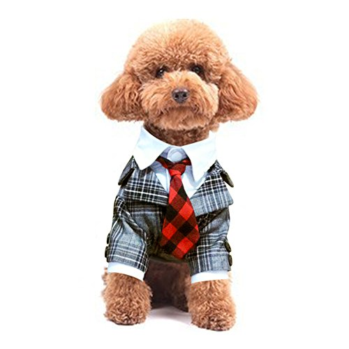 NACOCO Dog Costume Suit and Tie Plaid Leopard Print Clothes for Wedding Party Puppy and Cat (Black Plaid, -
