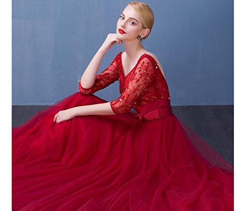 Beauty Sweep Boot Taillen Ausschnitt Emily Rot Abendkleider Langarm Bowknot Gurt Tailing SxqwSHrp