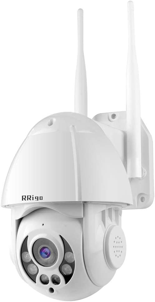 RRigo Outdoor Security Camera -1080P Home Surveillance Cameras,WiFi and LAN Connection,Pan/Tilt/Zoom Camera with Night Vision,Weatherproof Camera, 2 Way Audio, Motion Detection, Works on Smart Phones