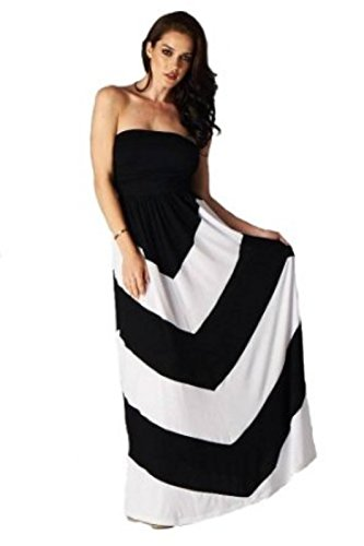Charm Your Prince Women's Sleeveless Summer Chevron Empire Maxi Dress Black and White XXL