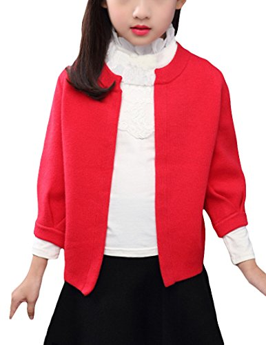 MFrannie Girls Spring Casual Front Open Woolen Knitted Cardigan Sweater Red 3T