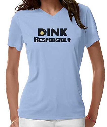 "Pickleball Up ""Dink Responsibly"" Dri Fit Women's V-Neck Shirt (Light Blue, Large)"