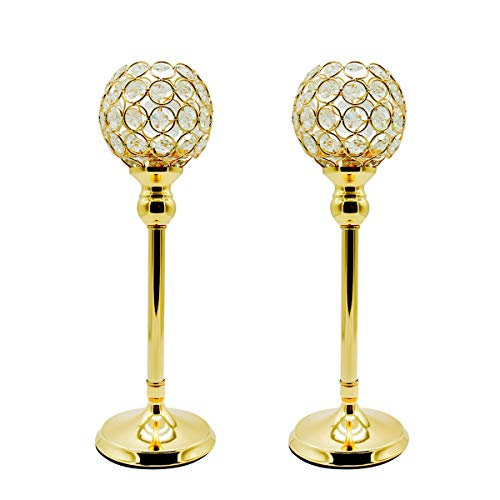 Joynest Crystal Candle Holders Coffee Table Decorative Centerpiece Candlesticks Set Dining Table Decorations, Gifts Thanksgiving/Birthday/Valentines Day/Housewarming (Gold, 2 pcs 13.8