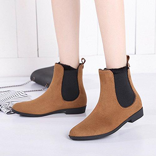 nbsp;JESSI Rain Boots Chelsea Elastic 9 Short Brown MAIERNISI Design Ankle Women's Booties Fashion 1fKqdA