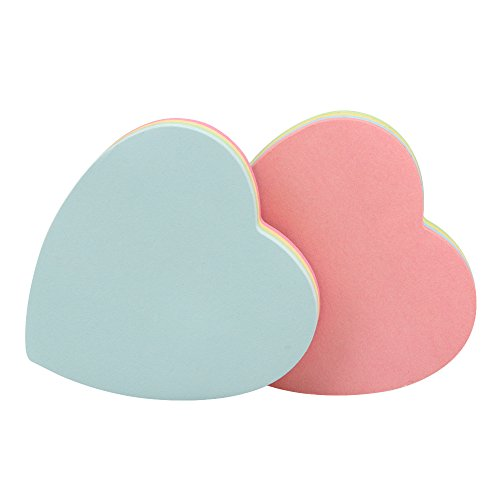 (JERUIX 8.0x8.0cm Heart-Shaped Sticky Notes Posted Self-Adhesive Paper Notes Facilitated Stickers Notepads Pack of 2)