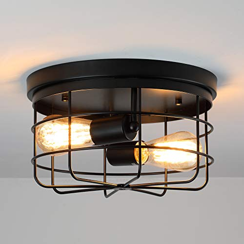 KOONTING 2-Light Industrial Metal Cage Ceiling Light, E26 Rustic Semi Flush Mount Pendant Lighting Lamp Fixture Farmhouse Style for Kitchen Garage Foyer Porch Hallway Entryway Bedroom Living Room