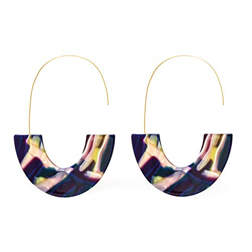 (Purple Acrylic Half Round Hoop Drop Earrings KELMALL COLLECTION)