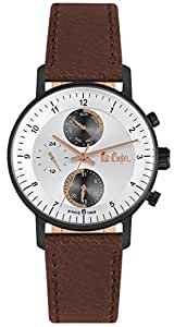 Lee Cooper Men's Multifunction Black Case Brown Leather Strap Silver Dial -LC06533.035
