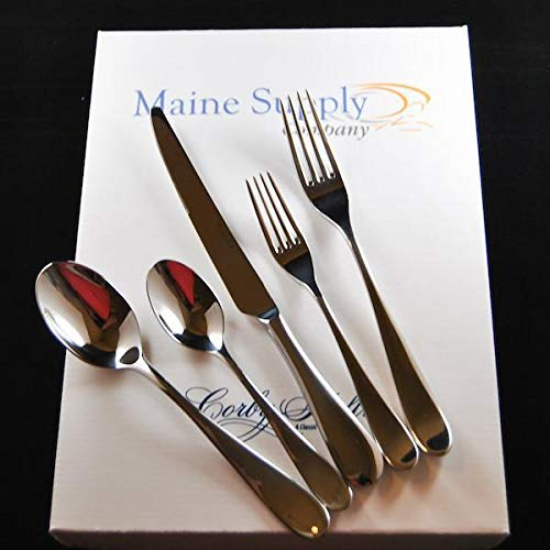 (Premium 18/10 Stainless Steel Troon Flatware Set for 4 People, Mirror Finish with Classic Teardrop Design Handle)