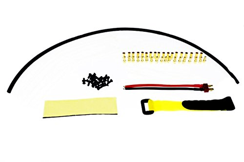 QWinOut 1 Set RC Drone Hexacopter Accessories 3.5mm Gold Banana Connectors + Dean T Plug Wire + Hoop & Loop Fastening - Mm Hoops 3.5 Gold