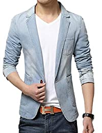 RG-CA Men's Fashion Blazer Suit Outwear 1 Button Denim Jean Lapel Outerwear