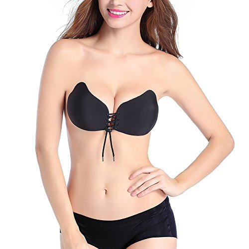 Holisouse Invisible Bra With Drawstring Self Adhesive Breathable All Size Available  Black  B