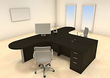 Incroyable Two Persons Modern Executive Office Workstation Desk Set, #CH AMB S33