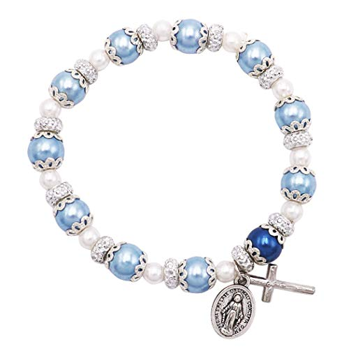 - Rosemarie Collections Women's Simulated Pearl Beaded Stretch Rosary Bracelet with Crucifix and Miraculous Medal (Blue)