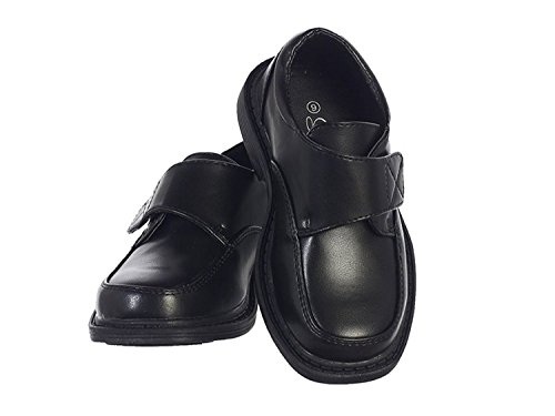 Boys Matte Dress Shoes w/Hook and Loop Fastener Strap Black 12T]()