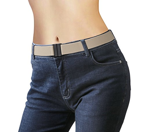 Beige Stretch Belt - No Show Women Stretch Belt Invisible Elastic Web Strap Belt with Flat Buckle for Jeans Pants Dresses