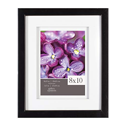 Gallery Solutions 8x10 Black Wall or Tabletop Frame with Double White Mat for 5x7 Picture,