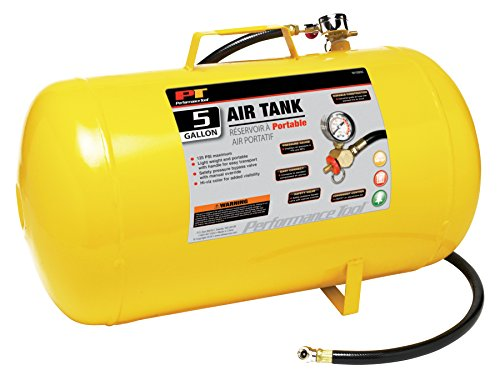 Performance Tool W10005 Hi-viz 5-Gallon Horizontal Portable Air Tank With Tire Air Chuck ()