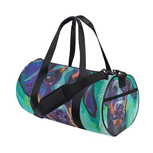 (Gym Duffel Bag Doberman Pinscher Dog Training Duffle Bag BaLin Round Travel Sport Bags for Men Women)