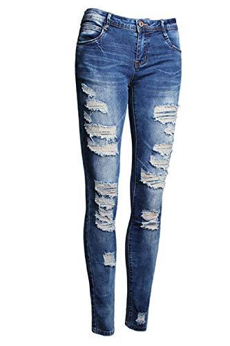 Taille Blue Dchirs Jeans Femmes yulinge en Grande Jean Pantalons Les Coton Copain qngYxYvPS