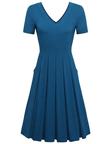 - Messic Knee Length Dresses for Womens Women's Short Sleeve Empire Waist V Neck Casual Aline Dress Flared Swing Elegant Solid Color Pleated Summer Midi Dress Dark Cyan Large