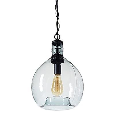 CASAMOTION Wavy Vintage Industrial Hand Blown Art Glass 1 Light Pendant Light
