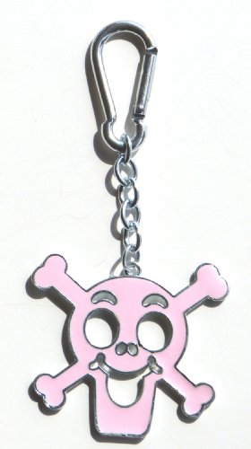 Pink Skull and Crossbones Bag Clip Charm, Key Chain/Ring, Great Gift!