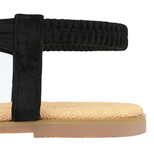 Flop Piatto Scarpe da Donna Nero Decorate Bohemia Sandali Spiaggia c Strass Toe Tacco Flip da Sandali Estate Basse SANMIO Estivi da Open qpTz7w