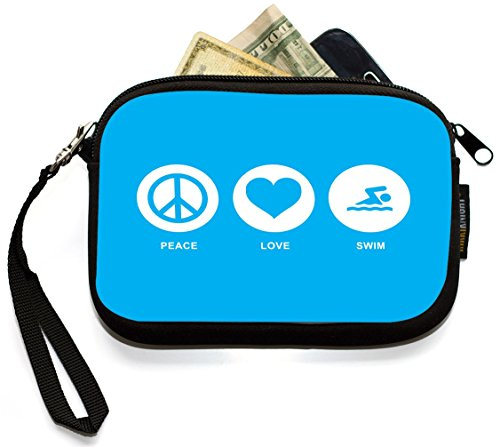 UKBK Peace Love Swim Sky Blue Neoprene Clutch Wristlet with Safety Closure - Ideal case for Camera, Universal Cell Phone Case etc. by Rikki Knight (Image #1)