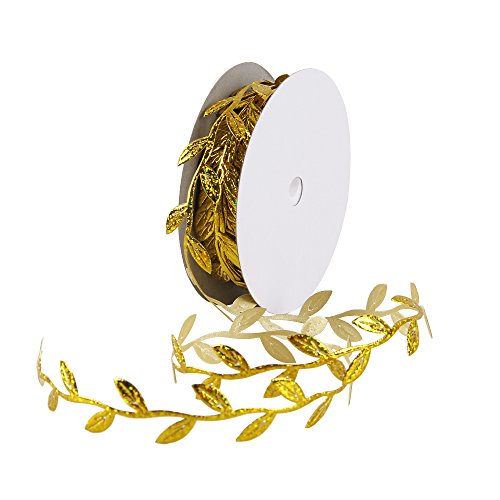 Olive Leaves Leaf Mirror Leather Silver Sequins - 20 Yards - Trim Ribbon for DIY Craft Party Wedding Home Decoration (Sequins Gold)