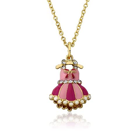 Little Miss Twin Stars Ballet Beauty 14k Gold-Plated Crystal Adorned Enamel  Ballet Dress Pendant Chain Necklace 14