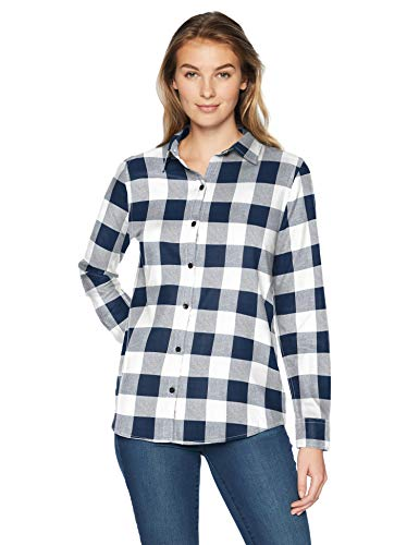 Amazon Essentials Women's Long-Sleeve Classic-Fit Lightweight Plaid Flannel Shirt Shirt, -navy buffalo plaid, Large