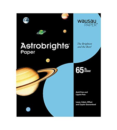 Wausau Astrobrights Premium Paper, 65 lb Cover, 8.5 x 11 Inches, Lunar Blue, 50 Sheets
