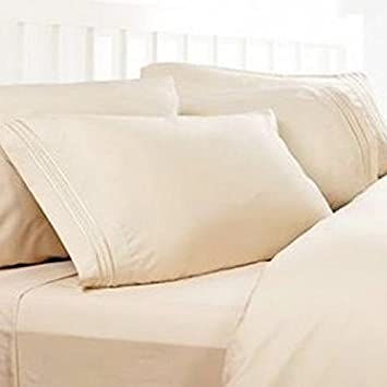 California King Sheets: Cream, 1800 Thread Count Egyptian Bed Sheets, Deep  Pocket.