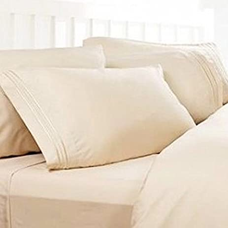 Exceptional Split Cal King Sheets, Split California King Sheets: Cream, 1800 Thread  Count Egyptian