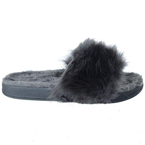 Mujer Chanclas Oscuro Cómodo Zapatillas Mullido Plano Gris Deslizables Talla Miss Image UK Sandalias Piel EqBtOz