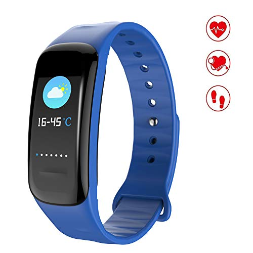 MEGAUS Fitness Tracker Color Screen Sport Band with Heart Rate Monitor,HR/Blood Oxygen/Pressure/Calorie/Sleep Monitor. (Blue)