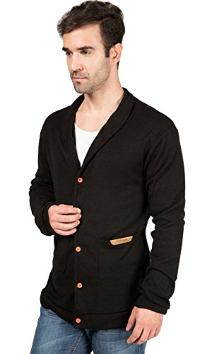 Bode® Men #039S Long Sleeve Knit Vneck Cardigan Shawl Collar Sweater Cardigan Medium Black